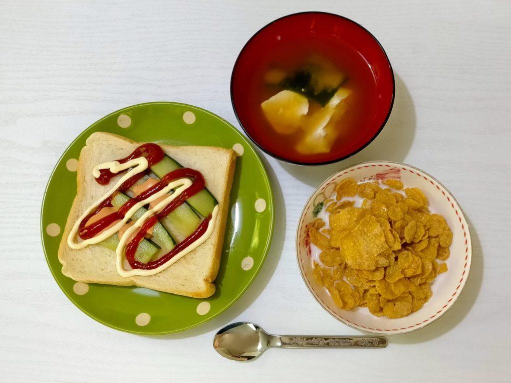 今日の朝食の写真